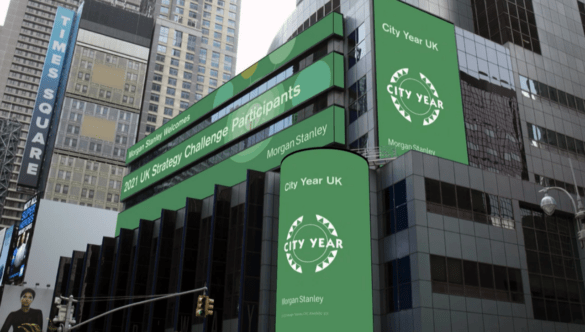 morgan stanley billboard showing CY logo in New York